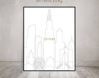 Chicago Print Poster Chicago skyline, minimalist modern poster, wall print, travel gift, faux gold text, Light grey stroke,ArtPrintsVicky