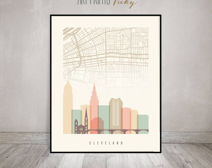 Cleveland map, art print, Poster, Wall art, Cleveland skyline with map, Travel decor, City poster, Home Decor, Digital Print, ArtPrintsVicky