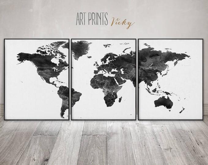 Set of 3 prints Black and white world map prints, 3 pieces wall art, world map, Office decor, Travel decor, Home decor, ArtPrintsVicky