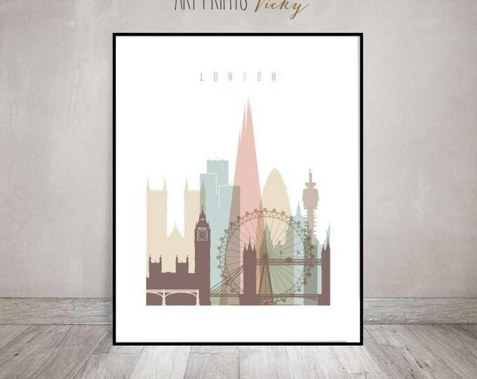 London wall art print,  London skyline, London poster, housewarming gift, travel decor, cityscape, wall Decor, ArtPrintsVicky