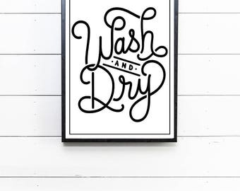 Wash Dry Sign Wash and Dry Laundry Room Decor Wash and Fold Laundry Sign Rustic Farmhouse Laundry Room Sign Gift for Her Print Art