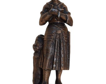Saint Joan of Arc Statue - French Antique Religious Spelter Figurine - Joan of Arc Reliquary