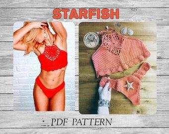 """Crochet Bikini Pattern/ Crochet Crop Top Pattern """"Startfish""""/ Crochet Brazilian Bottom/ Crochet Halter Top/ Crochet Bikini Set/ Crochet Top"""