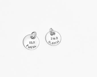 Silver Charm - 5K charm - 10K Charm - Half Marathon Charm - Marathon Charm - 13.1 Charm - 26.2 Charm - Hand Stamped Charm - Jewelry