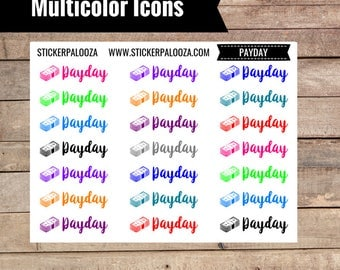 21 Payday Icon Stickers, Colorful Payday Stickers, 2 dollar tuesday