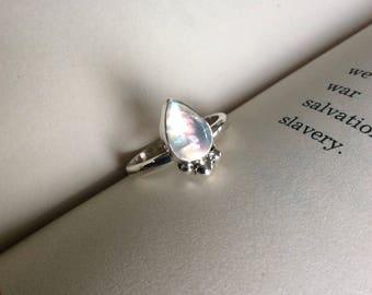 Silver Moon - Moonstone Teardrop Sterling Silver Ring