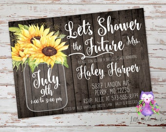 Country Bridal Shower Invitations | Rustic Bridal Shower Invitations | Country Wedding Invitations | Rustic Wedding Invitations | Sunflowers