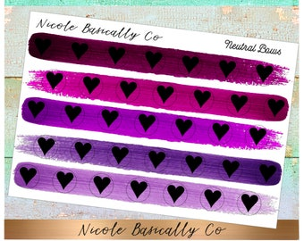 Heart Icons in Purple Paint Stroke Colors- Planner Stickers