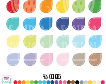 43 Stitched Teardrops Clipart. Personal and comercial use.