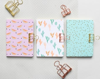 3 note books, cacti note book, mint green excercise book, watermelon notebook