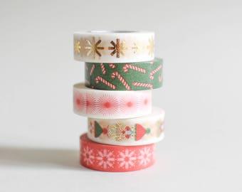Gold Washi tape set, Christmas gold masking tape, gold washi tape, stars masking tape