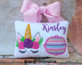 Unicorn tooth fairy pillow.Embroidred tooth fairy pillow.Personalized tooth fairy pillow.