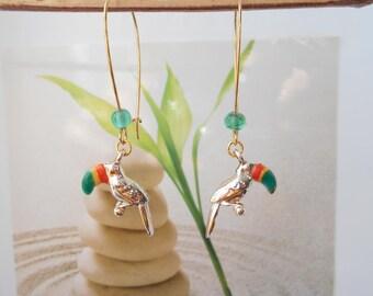 Golden Parrot beak multicolor earrings