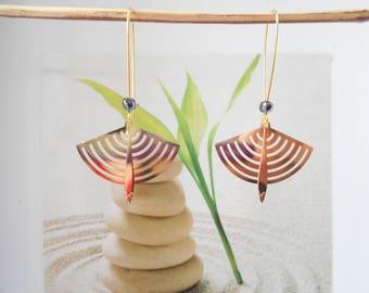 print golden fan earrings