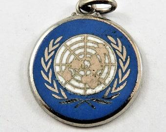 Enameled United Nations Emblem Sterling Silver Pendant or Charm.