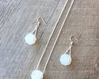 SALE 10% OFF, Octagon Crystal Birthstone Jewelry (Pearl White), Short Necklace, Crystal Necklace/Earrings, Dangle Earrings, Free Shipping