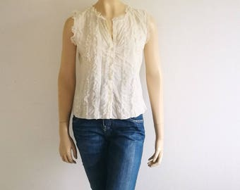 Vintage 90s Romantic shirt lace top Off White Button Up Sleeveless Shirt