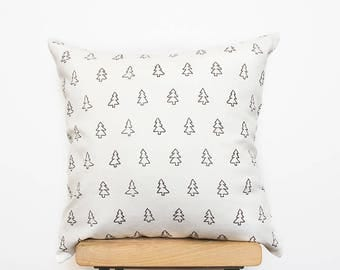 White Scandinavians Cushion, Decorative nordic pillows covers with modern tree print