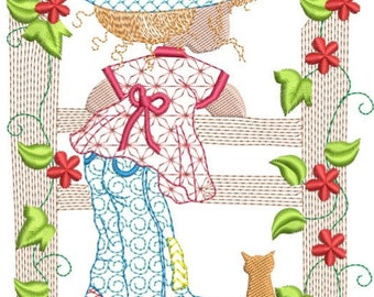 """Sarah kay on fence machine embroidery download 5 different sizes (9x9""""7x7""""6x6"""" 5x6 4x5 hoop)"""