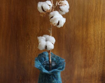 Wet-Felted Teal And Mix Of Fine Yellow, White, Light Blue And Silk Fibre