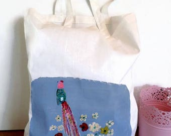 Hand painted cotton tote bag tote bag