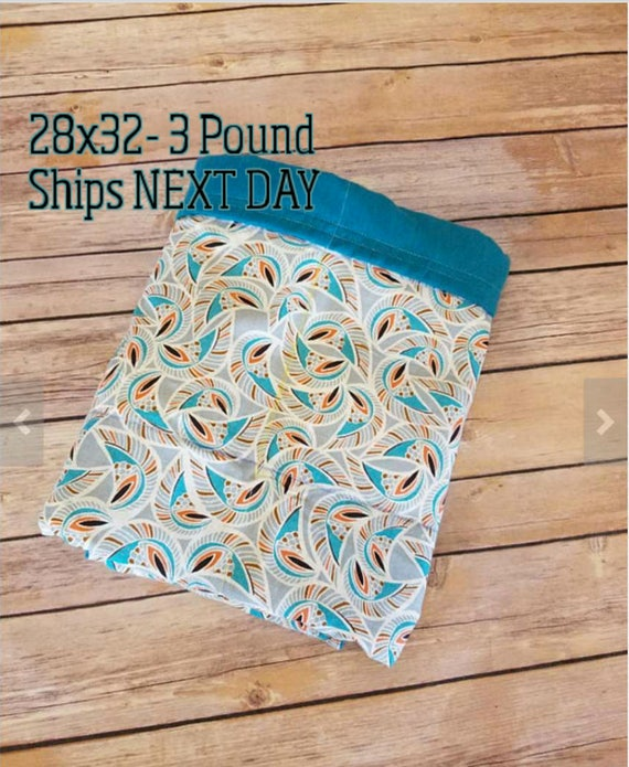 Geometric, Teal, 3 Pound, WEIGHTED BLANKET, 3 pounds, 28x32, for Autism, Sensory, ADHD, Calming, Anxiety,