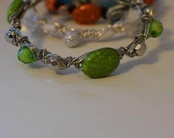 Green Wire Bangle Bracelet
