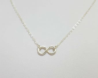 Infinity Charm Necklace, Sterling Silver Infinity Necklace, Delicate Tiny Necklace, Infinity Jewelry, Friendship , Girl Friend Gift