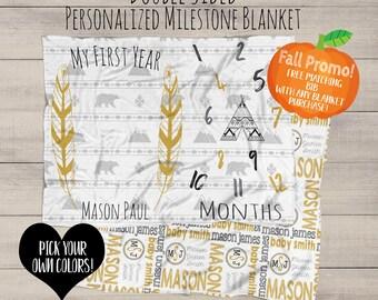 BabyMilestone Blanket - Monthly Milestone Blanket - Baby Growth Gift - Boho Baby Boy - Chic Nursery Bedding - Swaddle Blanket - Name Blanket