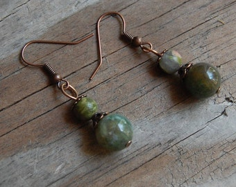 Antiqued Copper with Ocean Jasper and Unakite Dangle Earrings