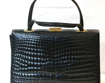 Black leather handbag - Hand-stitched model