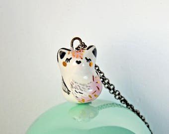 Cute Fox Necklace, Adorable Ceramic Fox, Pink and Genuine Gold, Fox Pendant, Fox Jewelry, Cute Animal,