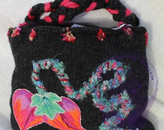 Small Black Knitted Decorative Felted Top Handle Handbag, Floral, Cord, Red Fabric, Twisted Purse, Orange Leaves, Embroidered, Gift, Fashion