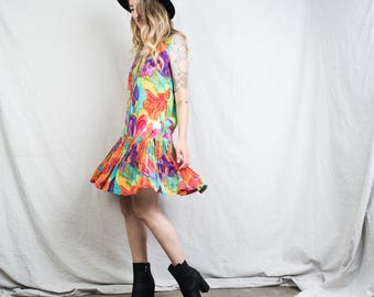 AMAZING Vintage Sleeveless Abstract Floral Dress / S / 90s grunge hipster summer layering mini floral dress with pleated drop waist skirt