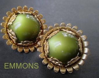 EMMONS Earrings * Large Round Earrings * Clip Earrings * Moonglow Green Earrings * Ornate Earrings * Signed