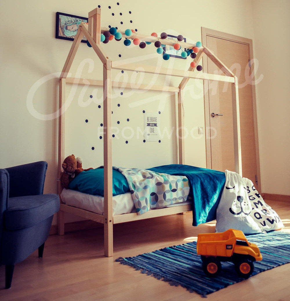 toddler bed house bed twin size frame bed montessori bed. Black Bedroom Furniture Sets. Home Design Ideas