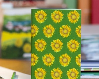Note sunflowers flowers sketch book summer yellow green illustration nature happy