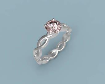 18k White Gold Morganite Engagement Ring Morganite Diamonds Ring Morganite Ring White Gold Ring Morganite Halo Ring