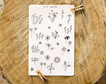 floral stickers flower doodle stickers flower stickers handdrawn stickers botanical stickers planner stickers bullet journal stickers garden
