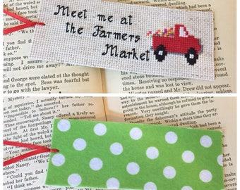 Meet Me at the Farmers Market Bookmark; Felt Bookmark, Cross Stitch Bookmark; Cloth Bookmark