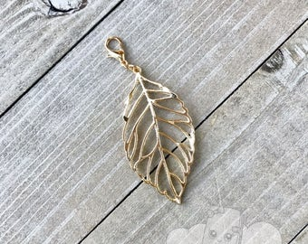 Planner Charm | Leaf Planner Charm, Zipper Pull Charm, Gold Notebook Charm, Purse Charm Backpack Charm Decoration