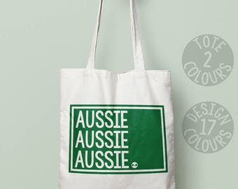 Aussie Aussie Aussie strong tote bag, present for teen girl, gift ideas for mum, gift for feminist, protest, motivation, australia, rights