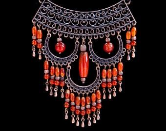 Carnelian owl necklace Owl lover gift Owl totem jewelry Boho necklace Stone owl jewelry Orange necklace Carnelian bead necklace Easter gift