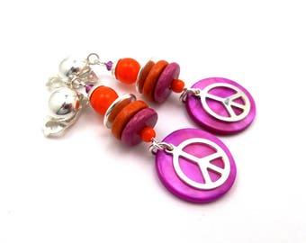 Clip earrings, 925 Silver, orange, fuchsia, hippie chic, boho