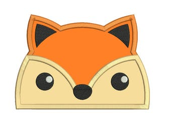 fox peeker applique design embroidery machine design file 3 sizes included all machine formats hooded towel instant download