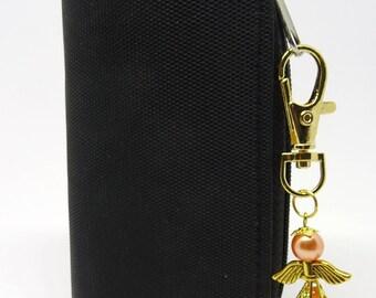 Guardian Angel Bag charm, Peach coloured angel, peach opaque Angel bag charm, Stocking filler, Gift for a friend, Teachers gift,.