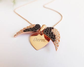 Personalized Gift For Mom - Custom Name Angel Wings Necklace - Personalized Jewelry - Gift Ideas For Mother - Christmas Gift
