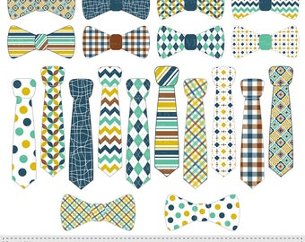 """Necktie and Bow Tie Clip Art """"TIE CLIP ART"""", Fathers Day Clipart, Man Digital Ties, Patterned Neckties and Bowties Vector Clip Art Download"""