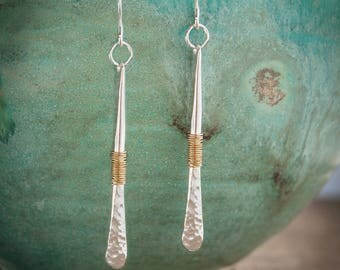 Sterling Silver Earrings, Silver Bar Earrings, Hammered Silver Earrings, Long Silver Earrings, Mixed Metal Earrings,Long Bar Silver Earrings