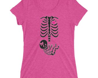 Pregnant Mother Baby Girl Skeleton Halloween Costume T-Shirt